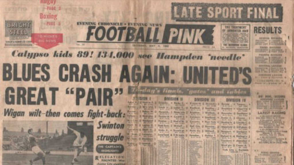 A post-war copy of the Manchester Evening Chronicle Football Pink