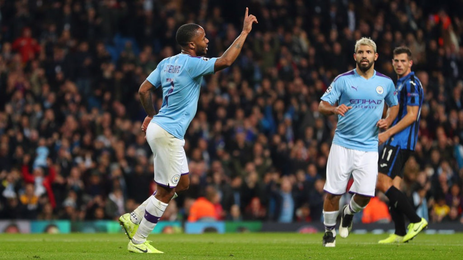 CLINICAL: Raheem Sterling celebrates against Atalanta.