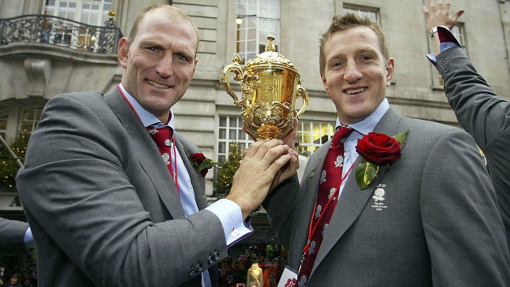 GLORY BOYS: Will Greenwood and Lawrence Dallaglio with the World Cup during England's 2003 victory parade