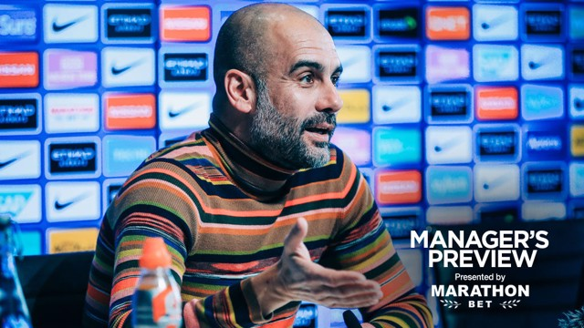 PEP TALK: The boss faced the press ahead if Sunday's game at home to Chelsea