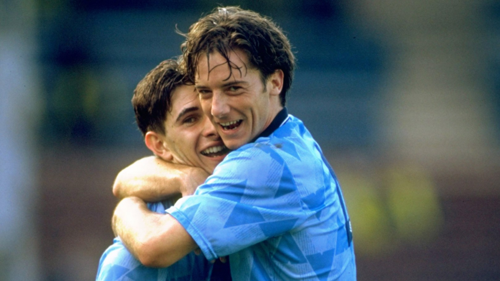 BISH BASH BOSH: Ian Bishop and Paul Lake celebrate City's 5-1 triumph over Manchester United in September 1989
