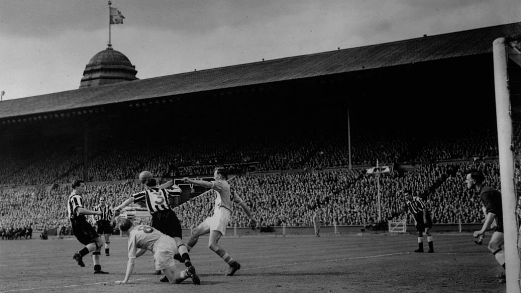 FINAL HURDLE: Don Revie (right) in action for City during the 19555 FA Cup final against Newcastle United