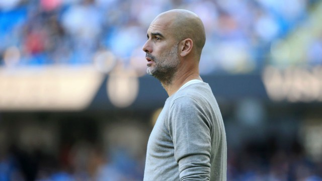 MATCH MODE: Pep Guardiola watches on against Watford.