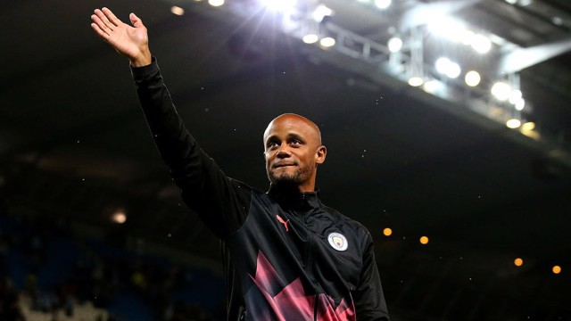 APPRECIATION: Vincent Kompany acknowledges the crowd at his testimonial game.