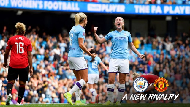 DERBY DELIGHT: City fan Keira Walsh punches the air!