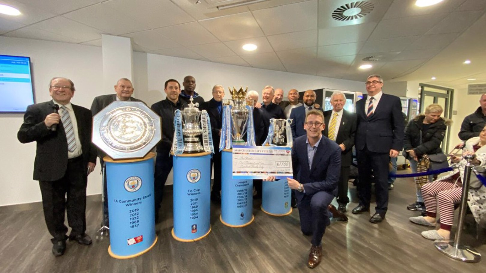 CITY SPIRIT: Manchester City Veterans team have donated more than £1000 to the Christie Hospital.