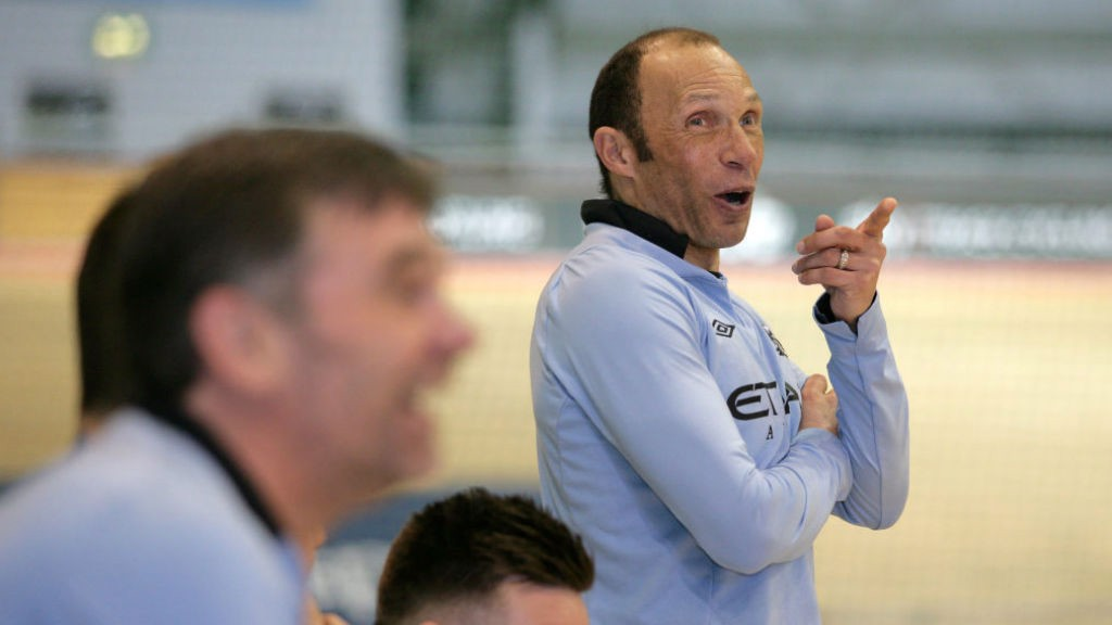 TRUE BLUE: Terry Phelan pictured during a charity event at Manchester's National Cycling Centre
