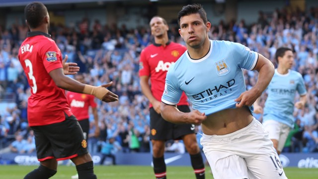 DERBY DELIGHT: Sergio Aguero celebrates his first goal against United in September 2013