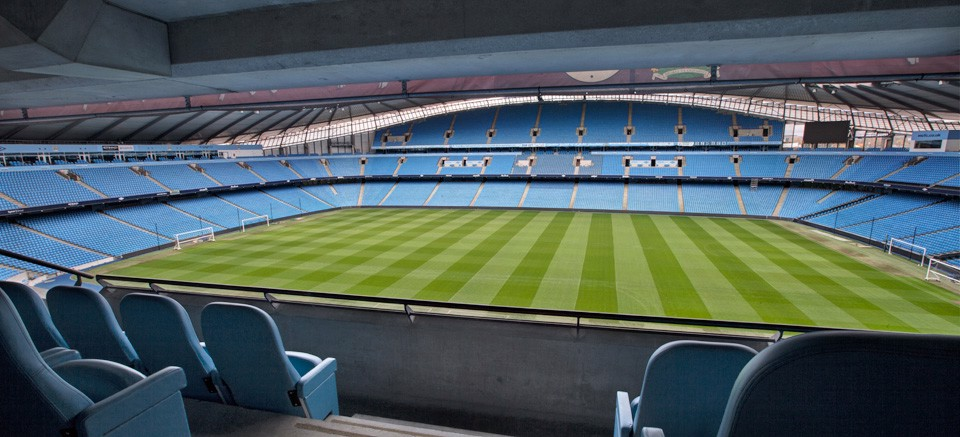 Sample view of pitch from a box at Etihad