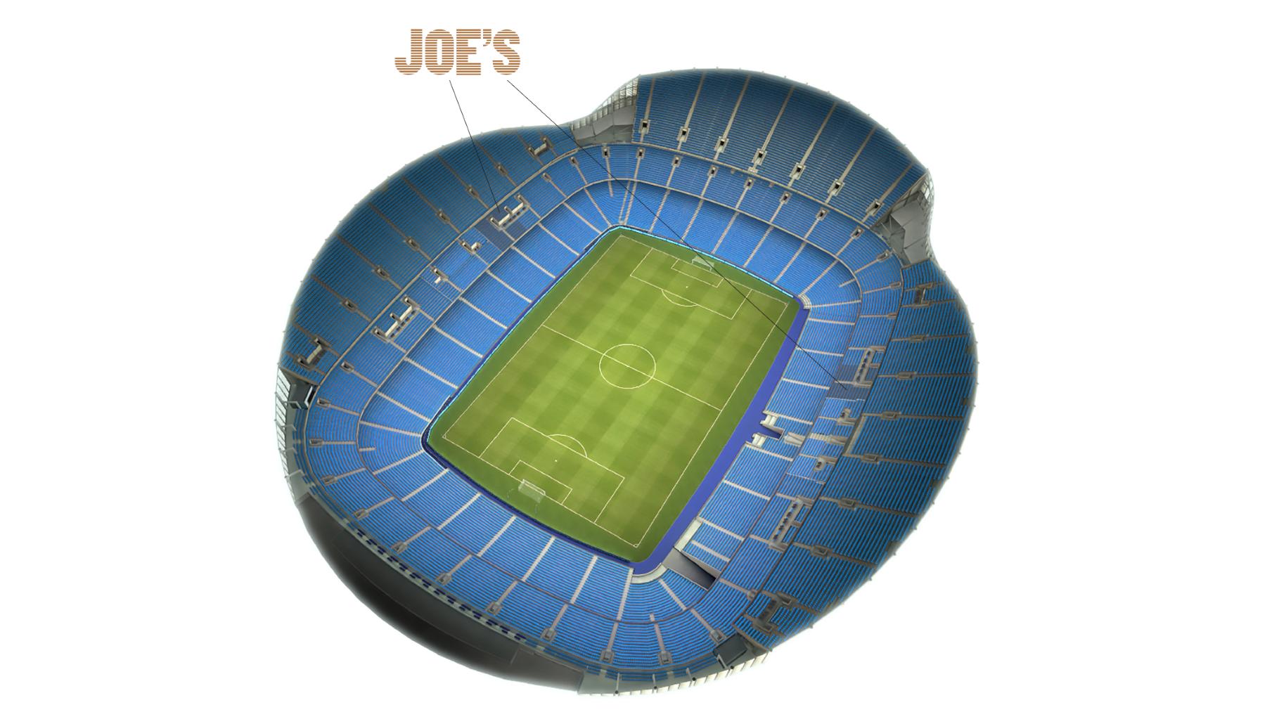 Stadium plan indicating seating for Joe