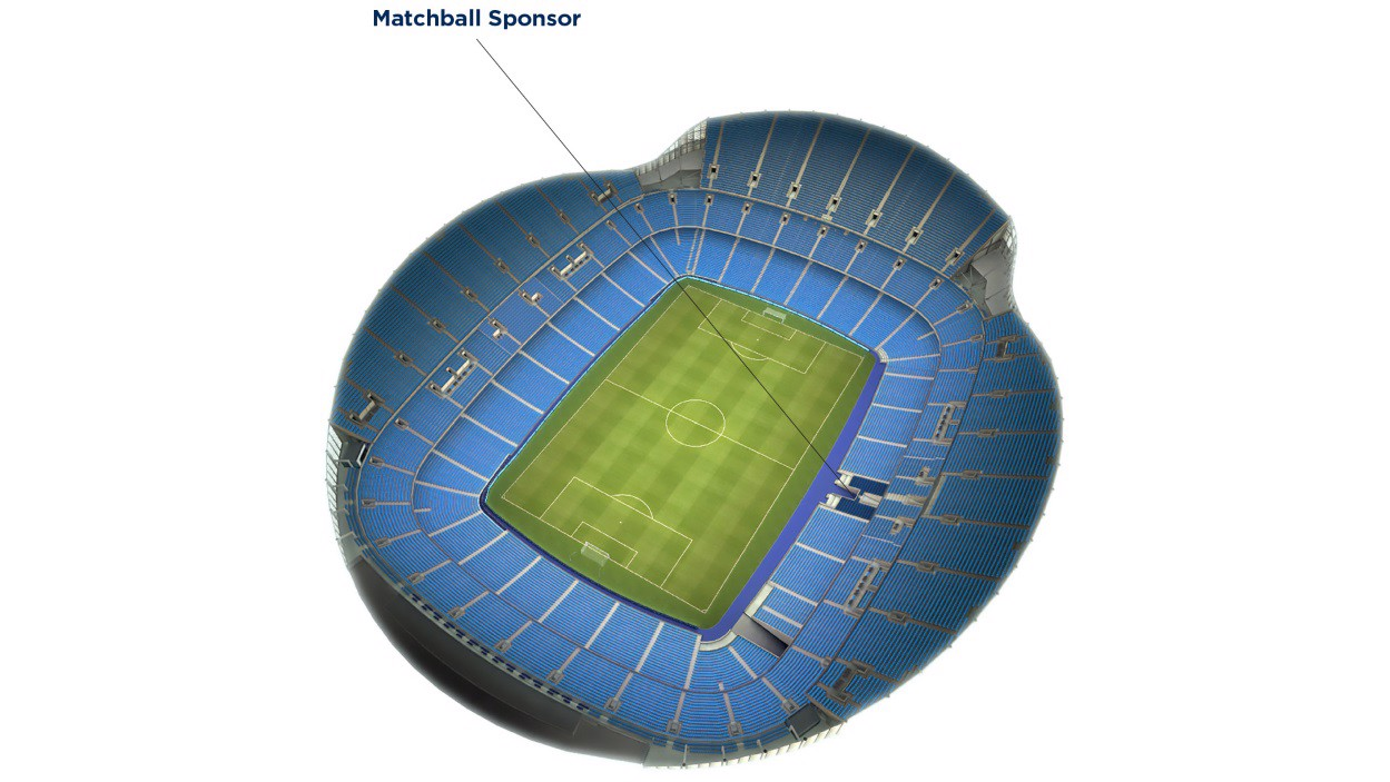Stadium map with matchball sponsor seating highlighted as being behind the dugout
