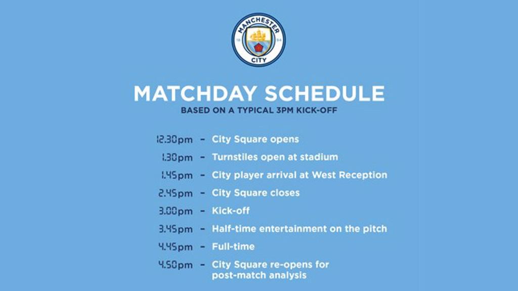 Etihad Stadium matchday schedule.
