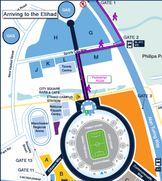 Pre-match Etihad Stadium map