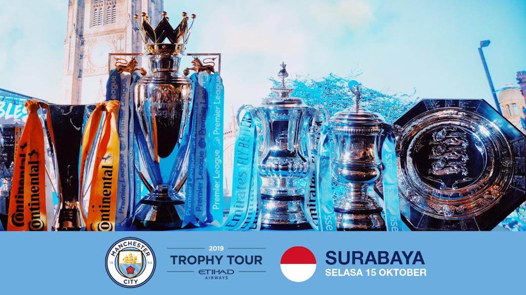 Trofi-trofi Manchester City akan mengunjungi Surabaya