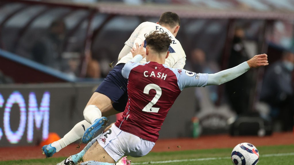 OFF NIGHT: Villa's Matty Cash also saw red for this challenge on Foden