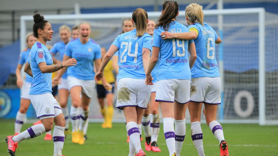 ALL TOGETHER NOW : The team enjoy going ahead