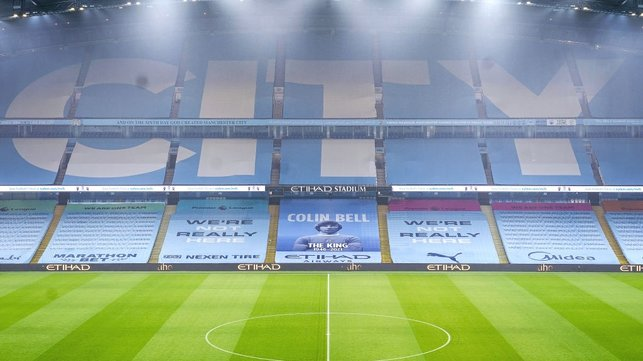 HOME : The Etihad looks as beautiful as always under the floodlights ahead of the visit of the Seagulls.