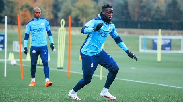 BEST FOOT FORWARD: Benjamin Mendy goes through his paces