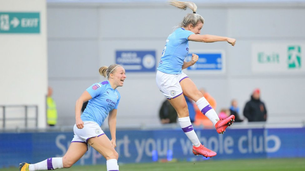 HEMP, SKIP, JUMP : Lauren is delighted with her fourth goal of the season