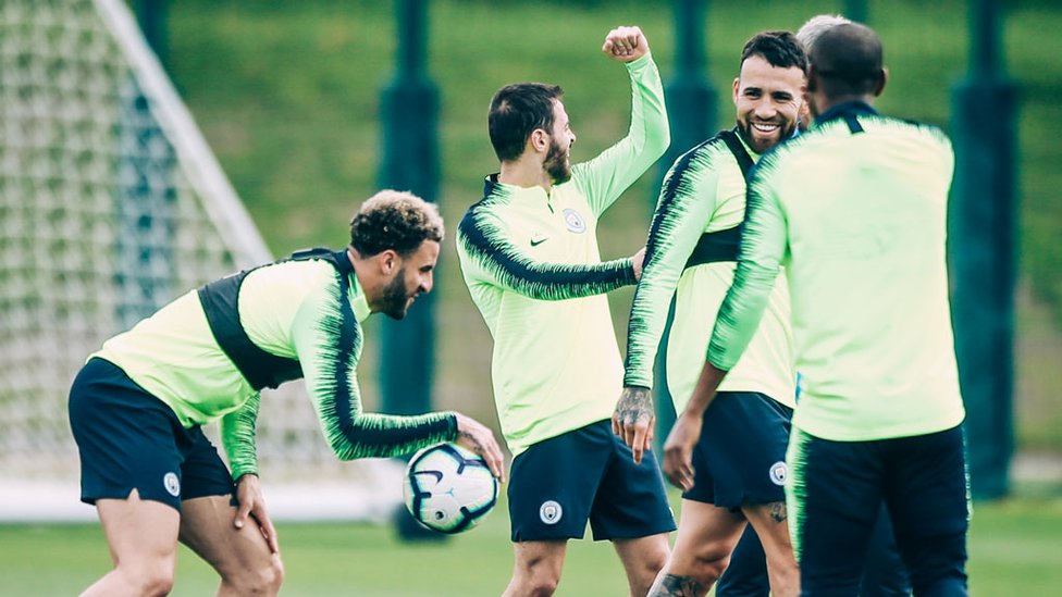 WORK HARD PLAY HARD : The lads enjoy a laugh and joke during some downtime