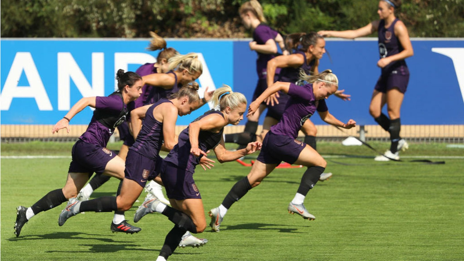UP AND AT 'EM: England skipper Steph Houghton and her colleagues are put through their paces as the Lionesses gear up for Tuesday's World Cup semi-final against the United States
