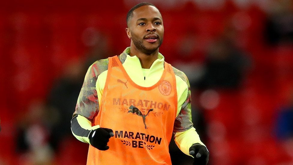 WARMING TO THE TASK : Raheem Sterling pre-match