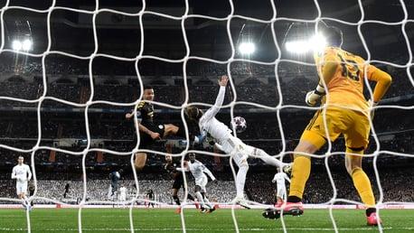 Gabriel Jesus scores against Real Madrid.
