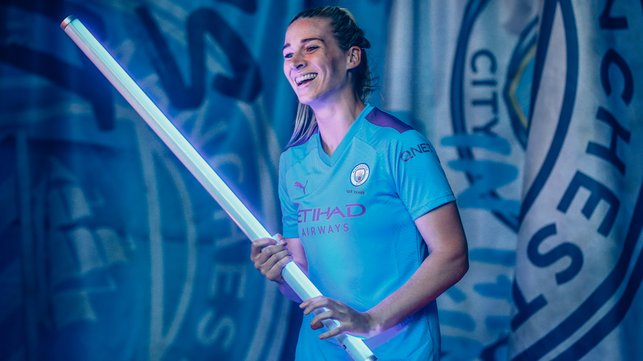 FEEL THE FORCE : Gemma Bonner looks ready to turn the Etihad blue this weekend