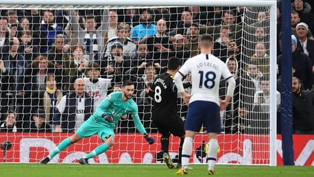 DENIED: Gundogan's spot-kick five minutes before the interval is saved by Lloris.