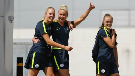 YOUTH AND EXPERIENCE: Ellie Roebuck, Steph Houghton and Georgia Stanway could soon reach historic milestones for England...