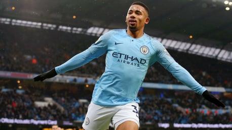 SAMBA SMILE: Gabriel Jesus wheels away in delight after scoring