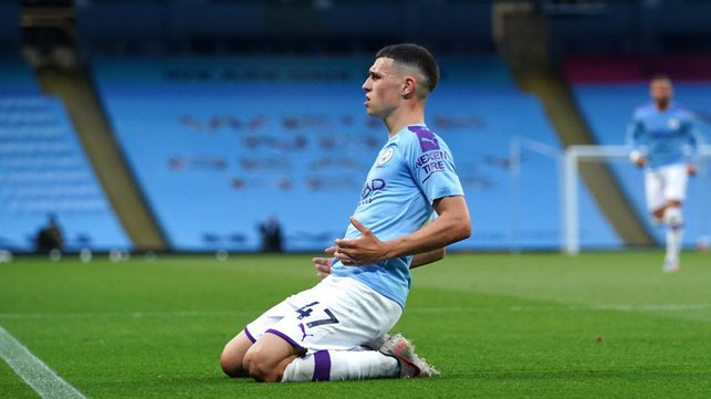 FORM MAN : Foden celebrates his third goal in his last two home Premier League matches.