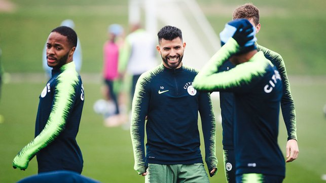 CENTRE OF ATTENTION : Sergio Aguero was all smiles after notching up his 150th Premier League goal for the Club