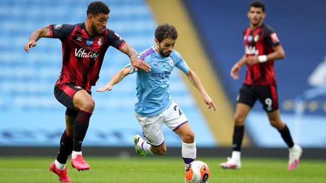 TRICKY CUSTOMER : Bernardo looks to lead City forward after the early goal.