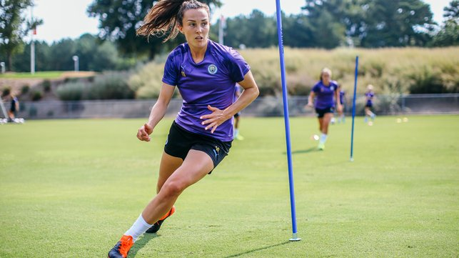 AGILITY : Caroline Weir weaves her way through the markers