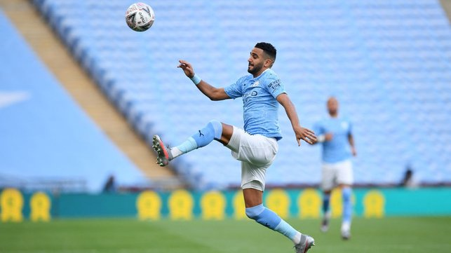 UNDER CONTROL: Riyad Mahrez does his best to keep the ball in