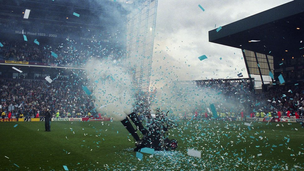 TICKET TAPE TIME: The post match celebrations get underway