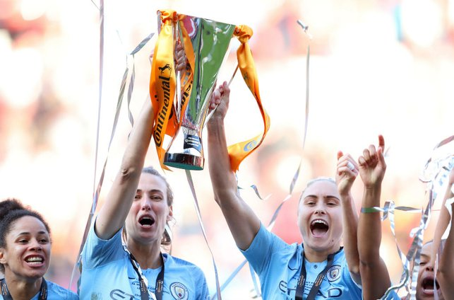 SILVER DREAM MACHINE: Jill and her City team mates lift the Continental Cup aloft after our 2019 final win over Arsenal