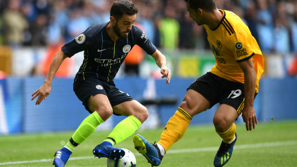 SOLID SILVA : Bernardo looks to open up the Wolves defence