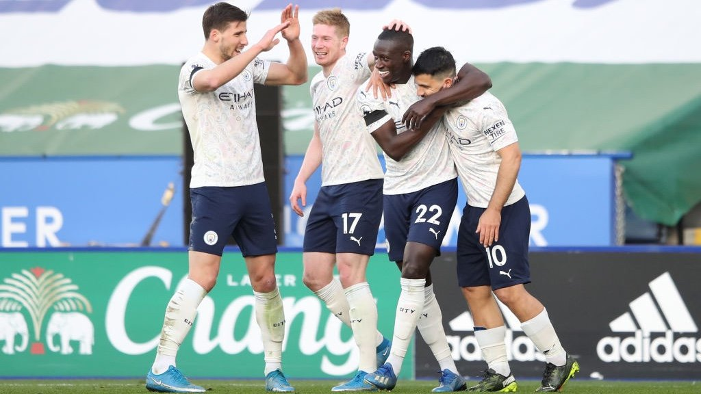 ALL SMILES: Delight after Mendy's goal!