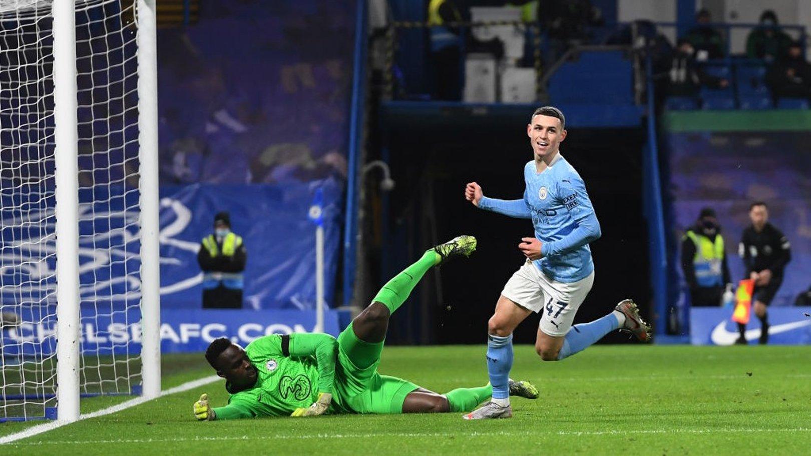 DOUBLE DELIGHT: Phil Foden celebrates adding a second