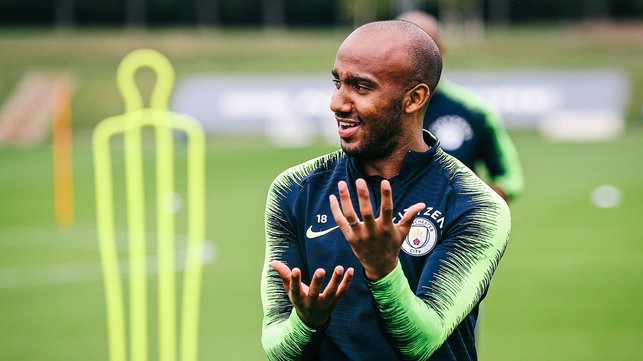 HANDS FREE : Fabian Delph during Monday's session
