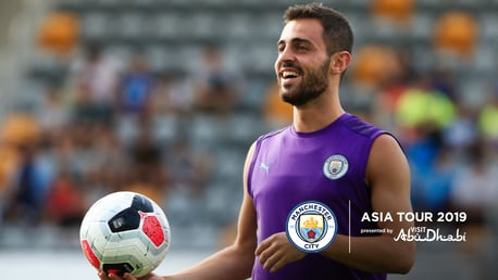 GOOD VIBES: Bernardo enjoying himself in pre-season training.