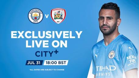 Saksikan City v Barnsley live di CITY+