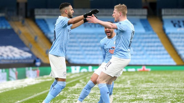 WING WIZARD: Mahrez celebrates his crucial early contribution