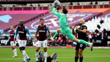 NO ENTRY: Hammers keeper Lukas Fabianski snuffs out a City attack