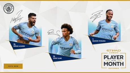 Sterling, Aguero and Sane up for Etihad vote