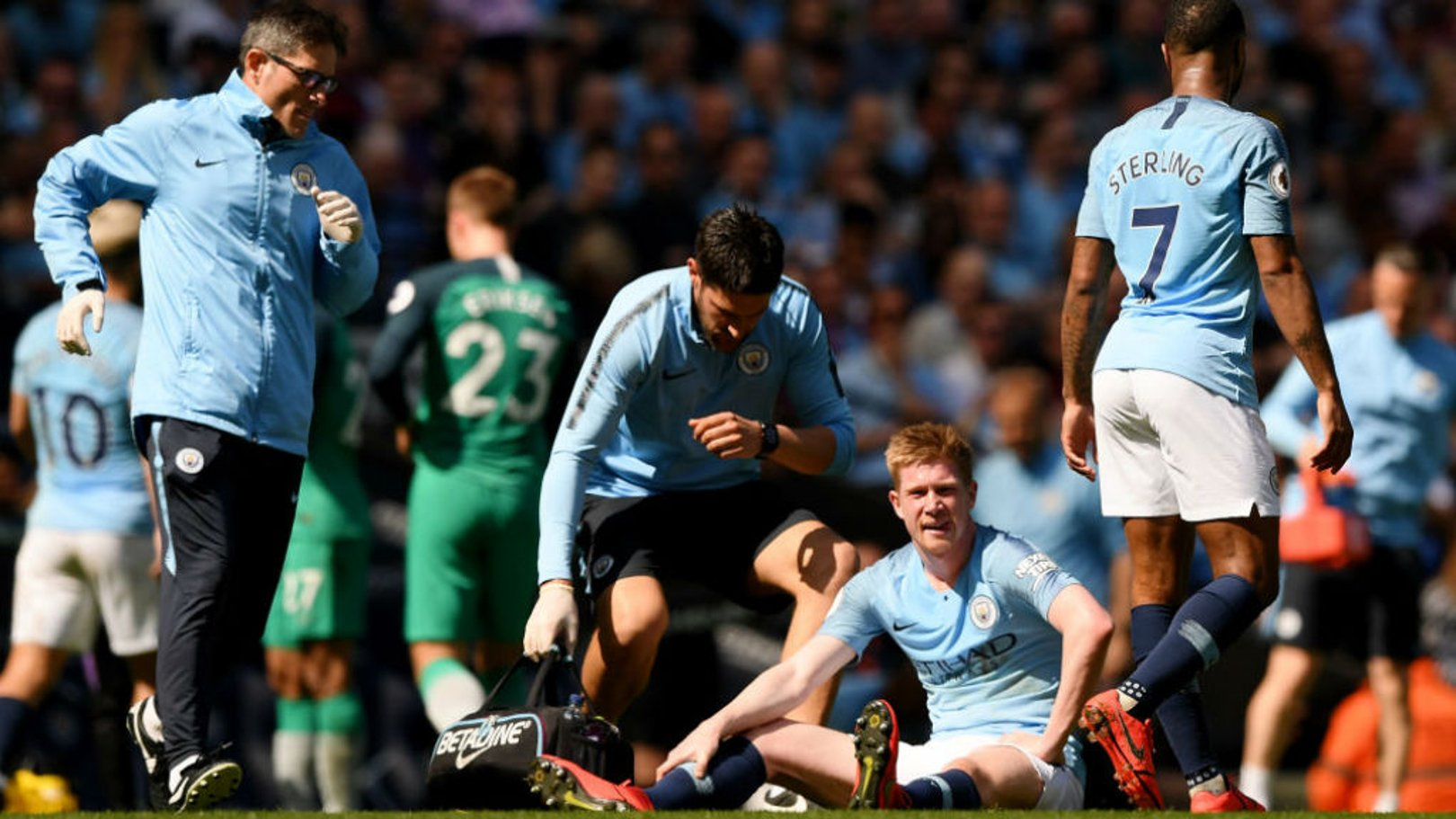 CONCERN: The one blight on the first half was the sight of Kevin De Bruyne having to be substituted after a leg injury