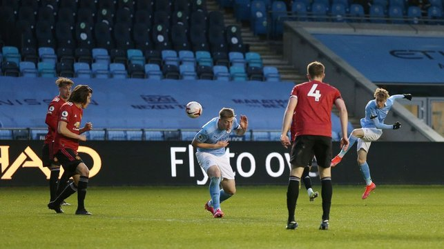 DERBY DELIGHT : City moved to within touching distance of the PL2 title with a dominant 3-0 victory over rivals Manchester United at the Academy Stadium in our last match