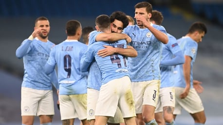 MAIN MAN: The team celebrate with the youngster after his great finish!